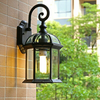 Vintage Clear Glass Black Metal Lantern Curved Arm Outdoor Wall Lights Sconces