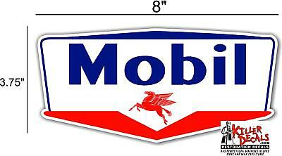 """(Mobi-6) 8"""" Mobil Gas Pegusus Gasoline Decal Can / Gas Pump / Lubster"""