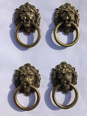 4 Antique Vintage Solid Brass Lion Head Drawer Pulls Handles for Cabinets