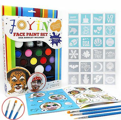 BIG Face Painting Stencil Kit DIY Set Body Tattoo KIDS Birthday Party Christmas