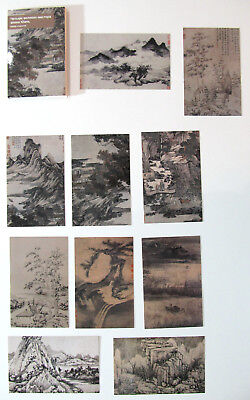 FOUR Chinese MASTERS OF YUAN 元朝 Post Cards in Folder 王蒙 倪瓒 吴镇 黃公望 LOT of 10 pcs