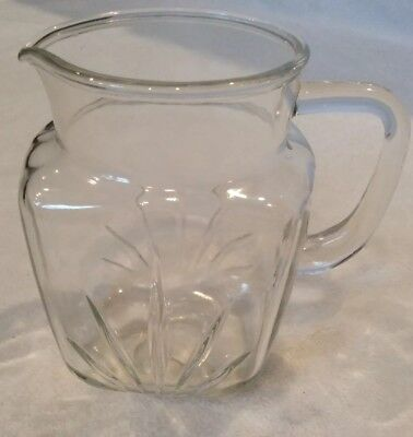 Vintage Federal Clear Glass Small Pitcher With  Star Bottom On Bottom