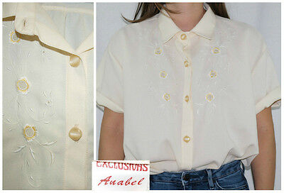 Vtg 40-50´s cute blouse BUTTER delicate embroideries ROMANTIC made in Spain