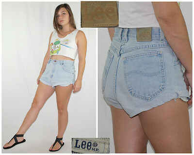 Vintage 80´s LEE SHORTS high waist PALE BLUE WASH perfect faded MADE IN USA W30