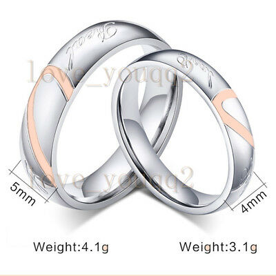 1Set=2Pcs Lots Stainless Steel Wedding Engagement Rings Heart Anniversary Couple