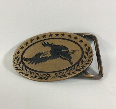 Bald Eagle Belt Buckle Solid Brass Tech Ether Guild Inc American 1975 Vintage