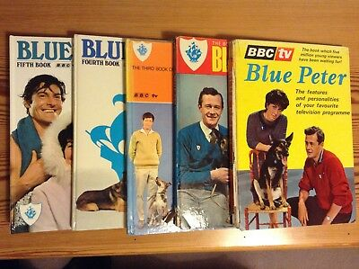 First Five Blue Peter Annuals in good condition for 50 year old children's books