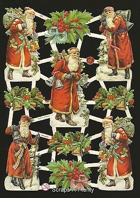 Die Cut Scrap German Vintage Style Embossed - Colorful Christmas Santa  EF7361