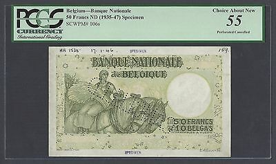 Belgium 50 Francs ND(1935-47) P111s Specimen Perforated About Uncirculated