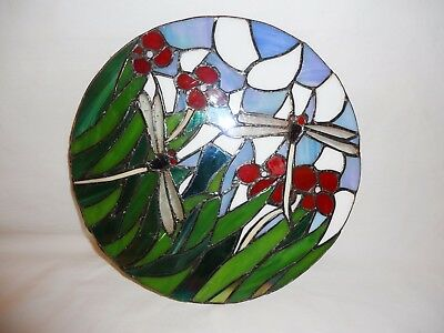 Vintage Dragonflies and Flowers Stained Glass Suncatcher