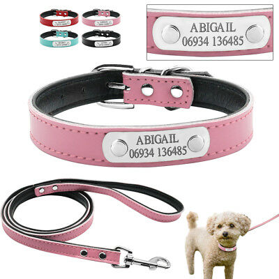 Personalized Dog Collar and Leash Custom Leather Pet Puppy ID Collar Engraved