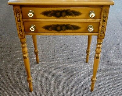Antique HITCHCOCK Solid Maple 2-Drawer TABLE.Stencils,Patriotic Eagle Pulls.1832