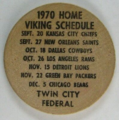 Vintage 1970 Minnesota Vikings Home Schedule on Wooden Nickel & High School TV