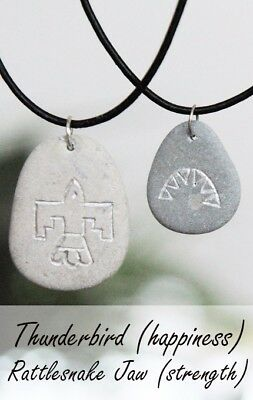 Stone Pendants with Engraved Native American symbols, Indian Strength Amulet