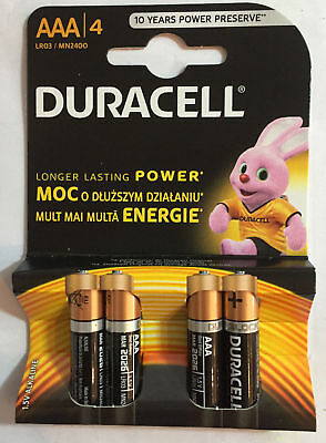 4 X Duracell AAA1.5V Alkaline Batteries,MN2400, last longer than Simply Duracell