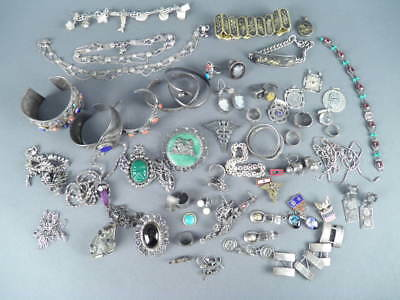 Fine Lot Sterling Silver Jewelry Indian Japanese Old Pawn Mexican & More