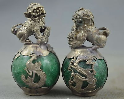 china collection miao silver carve dragon lion inlay agate exorcism lucky statue