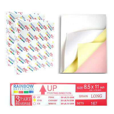 Rainbow Max NCR Carbonless 3 Parts Paper for Laser & Inkjet Printer, 2 Reams