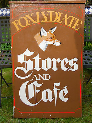 Vintage Large FOXLYDIATE STORES AND CAFE Hanging Double Sided Advertising Sign
