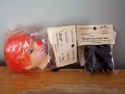 """Vintage Craft Factory 3"""" Orange Rooted Hair Clown Doll Head With Black Boots"""