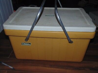 Vintage Retro Coleman Cooler Yellow Hard Plastic With Metal Arms