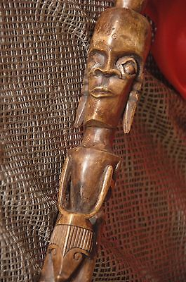 Old West African Carved Wooden Walking Stick / Cane …beautiful collector's item