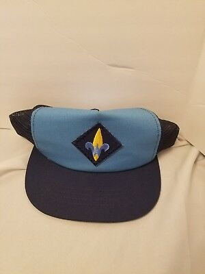 Cub Scout Uniform Boy Scouts Official Hat Cap Small/Med. Blue Webelos Vtg (O35)