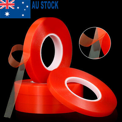 6x Doublesided Heat Resistant Adhesive Transparent Clear Tape Red Acrylic 50M