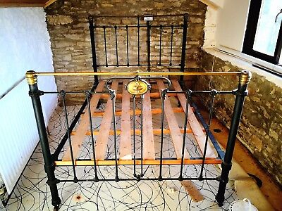 Victorian brass and iron double bedstead