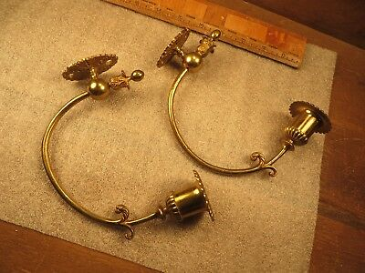 Antique Matching Pair Ornate Brass Wall Candle Holders Sconces Victorian Decor