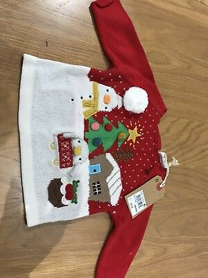 BNWT Next Girls Christmas Jumper 0-3 Months