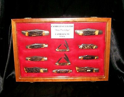 Camillus Sword Brand Knives 11 Total Indian Stag Line 1970's W/Display Case Rare