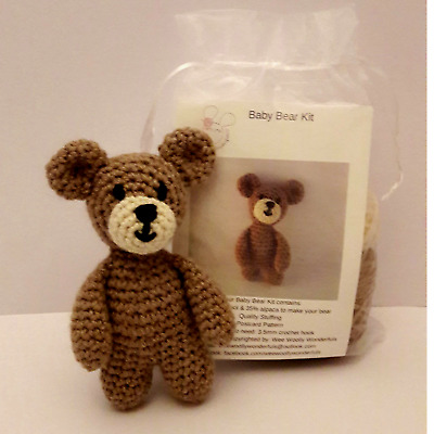 Crochet Kit Baby Bear 100% alpaca Mini Kit - Craft Birthday Mothers Day Gift