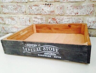 Grey Wood Crate Vintage Rustic Shabby Chic Storage Wooden Box Display Apples