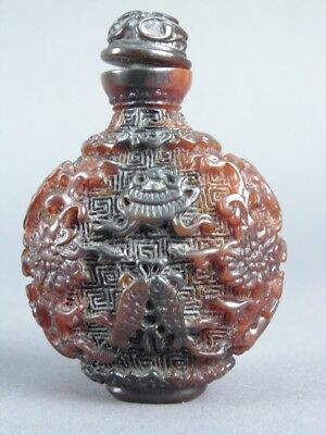 Fine Old Chinese Carved Resin Snuff Bottle Scholar Work Of Art