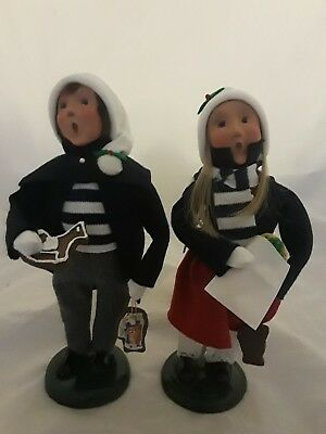 Set of 2 2003 Byers Choice Caroler Boy Girl Child with Cookies Christmas Figure