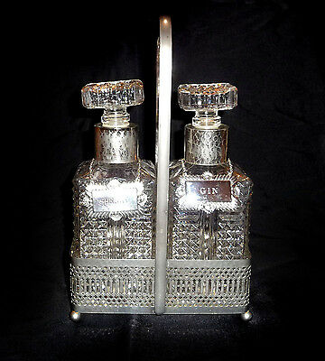 Fab VINTAGE ORNATE DUO DECANTERS BOTTLES + SILVER PLATED STAND & LABELS
