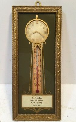 Vintage S. Yagadich BOOTS and SADDLES Grandfather Clock Design Thermometer