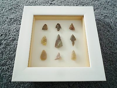 Neolithic Arrowheads in 3D Frame, Authentic Saharan Artifacts 4000BC (Q155)