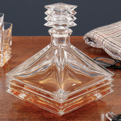 Art Deco Style Luxury Ripple Crystal Glass Whisky / Whiskey Decanter Carafe