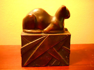 Rare Antique Art Deco Pompeian Bronze Egyptian Cat Bookend Great Bronze Patina
