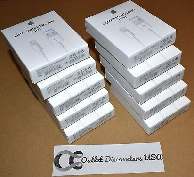 LOT of 10 Apple Lightning to USB Charge Cables for iPhone X 8 7 6 5 S MD818ZM/A