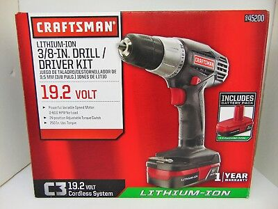 Craftsman C3 19.2-Volt Lithium-Ion 3/8-in. Drill/Driver Kit, 945200, NEW