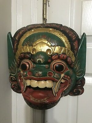 Vintage  Mask Wood Mask Red painted  Art