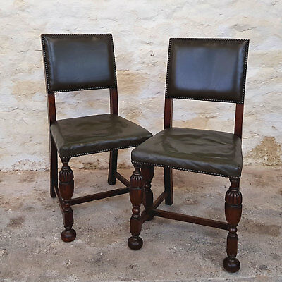 C17th Style Leather & Oak Pair of Dining Chairs (Antique)