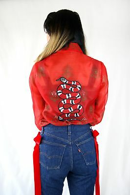 1970's Vintage Organza Blouse With Snake Embroidery Like Gucci collection