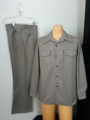 VTG 70s Farah 2 Piece Leisure Suit Jacket 44 Plants 36-31 Brwn Wht Checks Disco