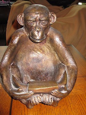 Metal Monkey/Ape - Possibly Antiqued Brass- Weighs 14 pounds - Coin/Other Holder