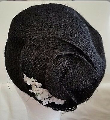 Vintage 1940s WHITMOR MODES Floral Decorated BLACK Side Sitting Cloche Hat