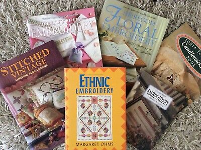 EMBROIDERY BOOKS Metal Thread Heirloom Floral Ethnic Vintage Candlewicking BULK